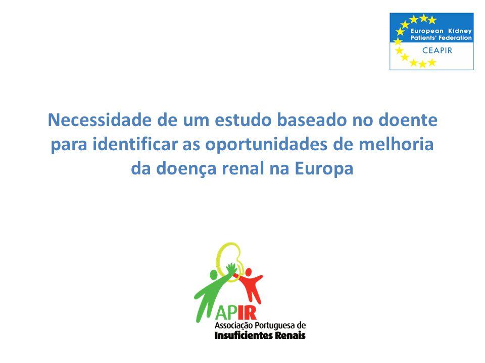 Necessidade de um estudo baseado no doente para identificar as oportunidades de melhoria da doença renal na Europa