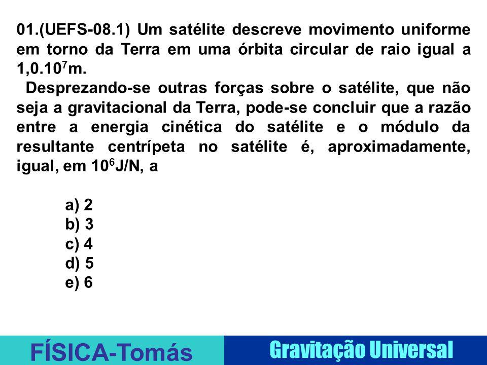 01.(UEFS-08.1) Um satélite descreve movimento uniforme em torno da Terra em uma órbita circular de raio igual a 1,0.107m.