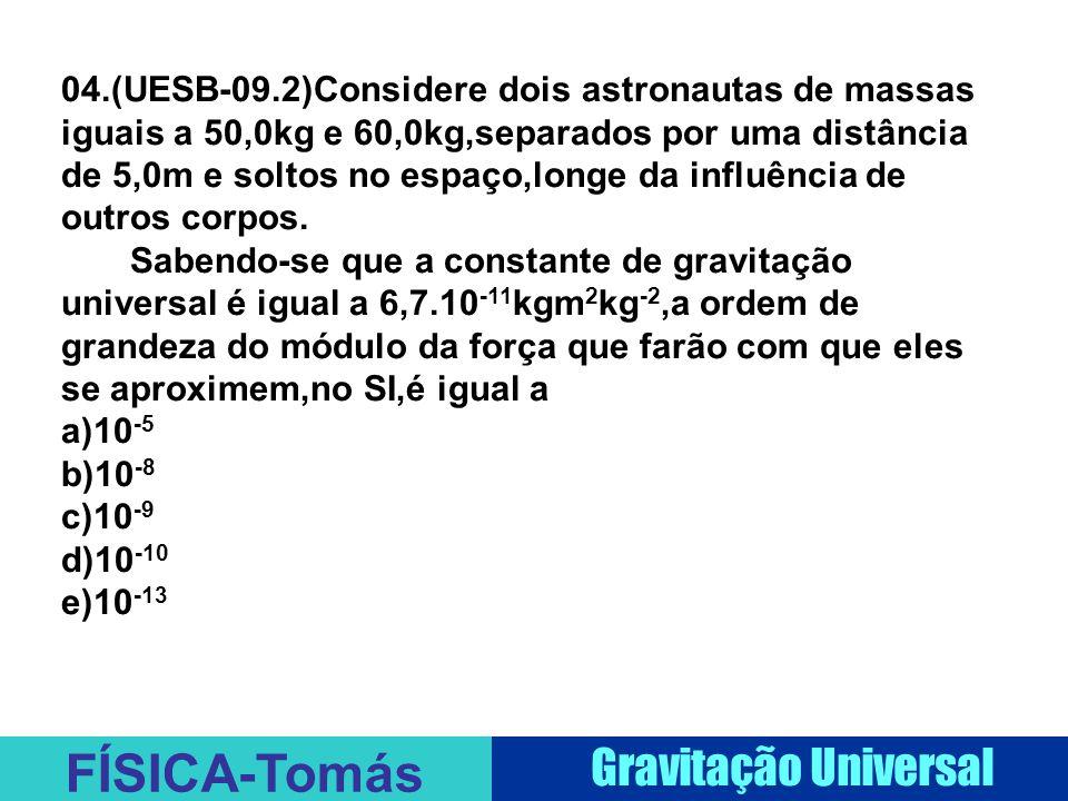 04.(UESB-09.2)Considere dois astronautas de massas iguais a 50,0kg e 60,0kg,separados por uma distância de 5,0m e soltos no espaço,longe da influência de outros corpos.