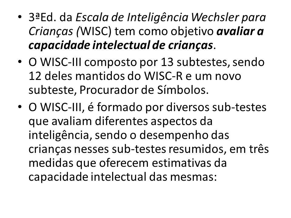3ªEd. da Escala de Inteligência Wechsler para Crianças (WISC) tem como objetivo avaliar a capacidade intelectual de crianças.