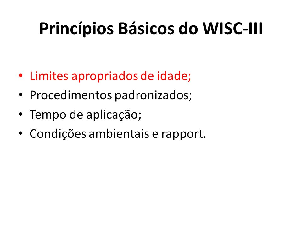 Princípios Básicos do WISC-III