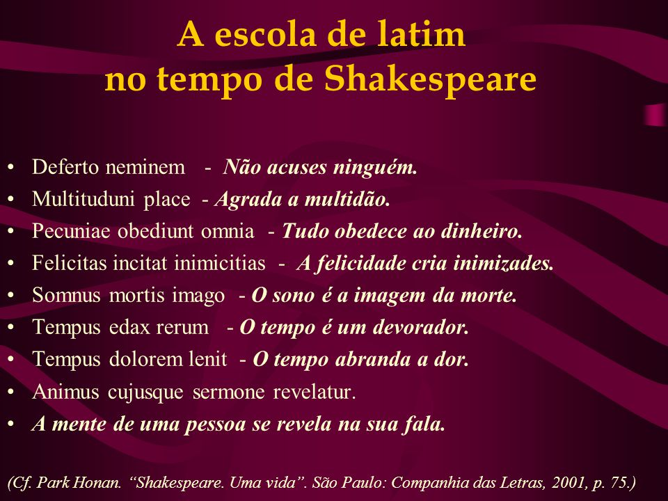 A escola de latim no tempo de Shakespeare