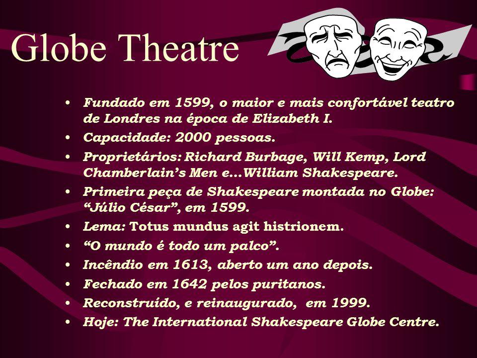 Globe Theatre Fundado em 1599, o maior e mais confortável teatro de Londres na época de Elizabeth I.