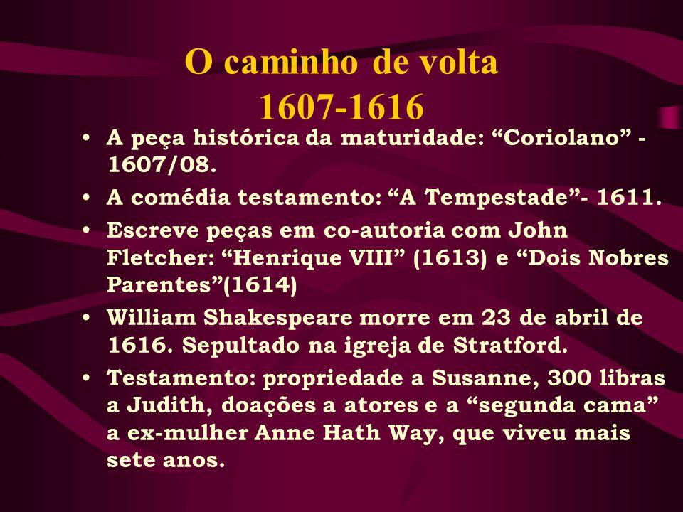 O caminho de volta 1607-1616 A peça histórica da maturidade: Coriolano - 1607/08. A comédia testamento: A Tempestade - 1611.