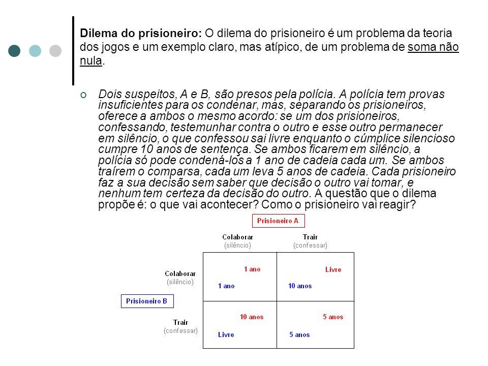 Dilema do prisioneiro: O dilema do prisioneiro é um problema da teoria dos jogos e um exemplo claro, mas atípico, de um problema de soma não nula.