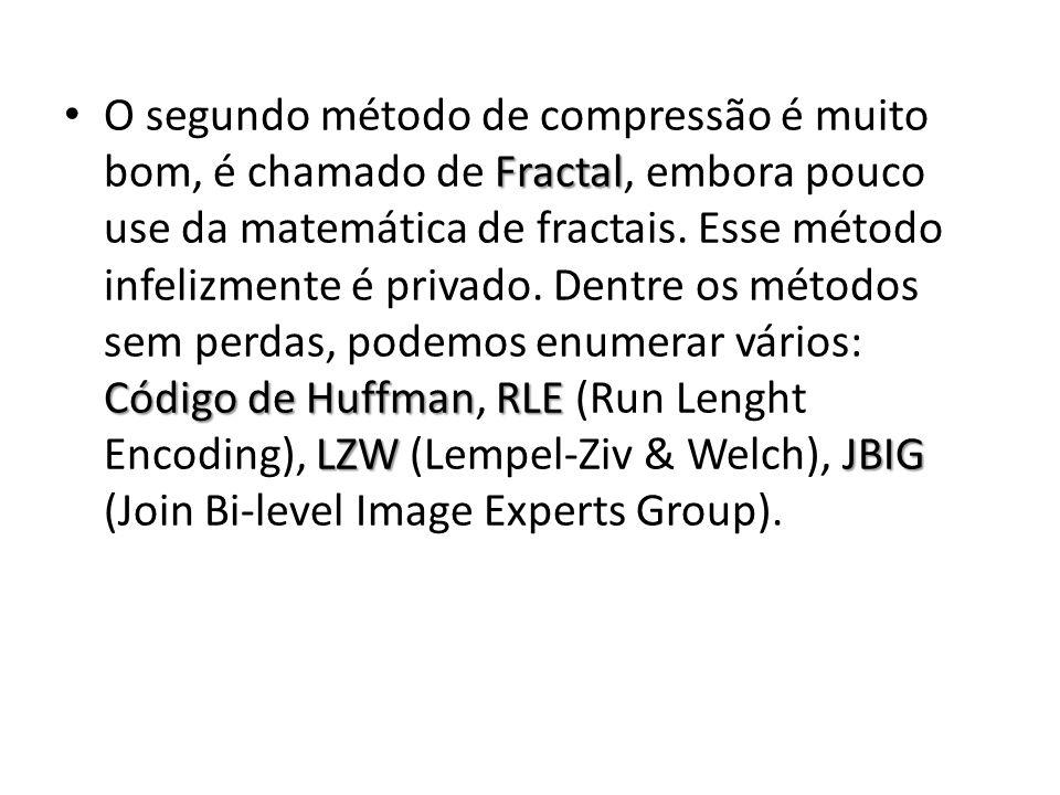 O segundo método de compressão é muito bom, é chamado de Fractal, embora pouco use da matemática de fractais.