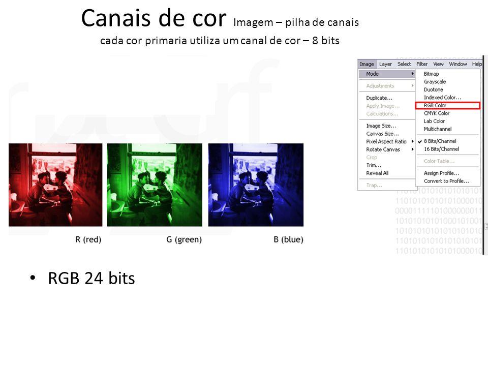 Canais de cor Imagem – pilha de canais cada cor primaria utiliza um canal de cor – 8 bits