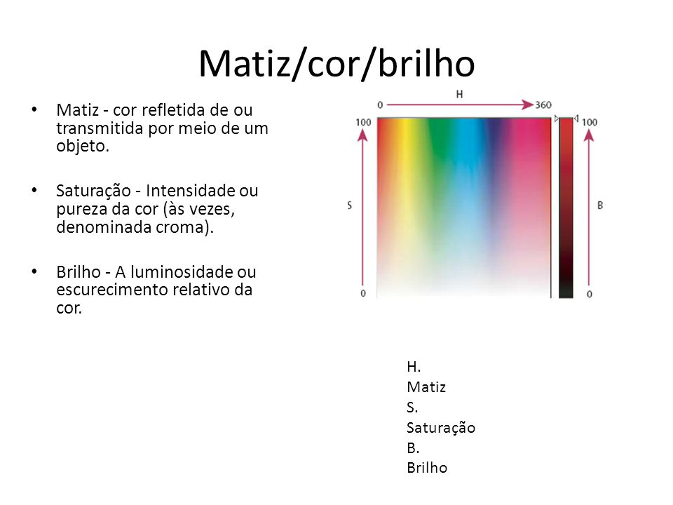 Matiz/cor/brilho Matiz - cor refletida de ou transmitida por meio de um objeto.