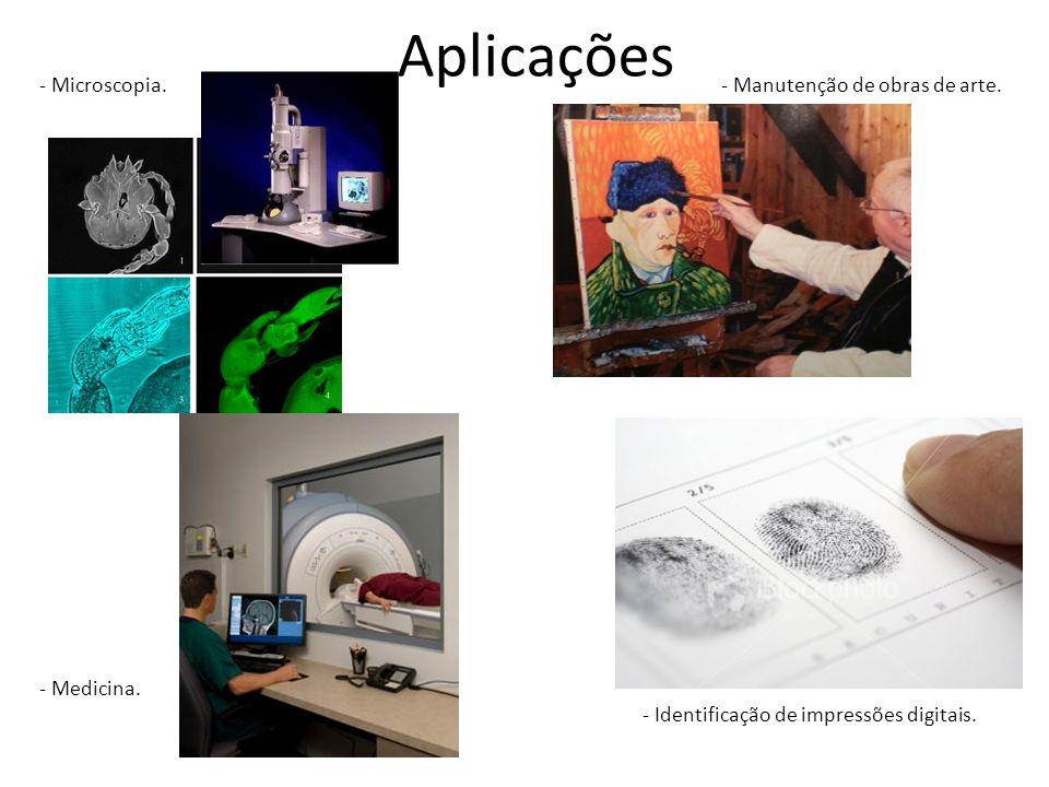 Aplicações - Microscopia. - Medicina. - Manutenção de obras de arte.