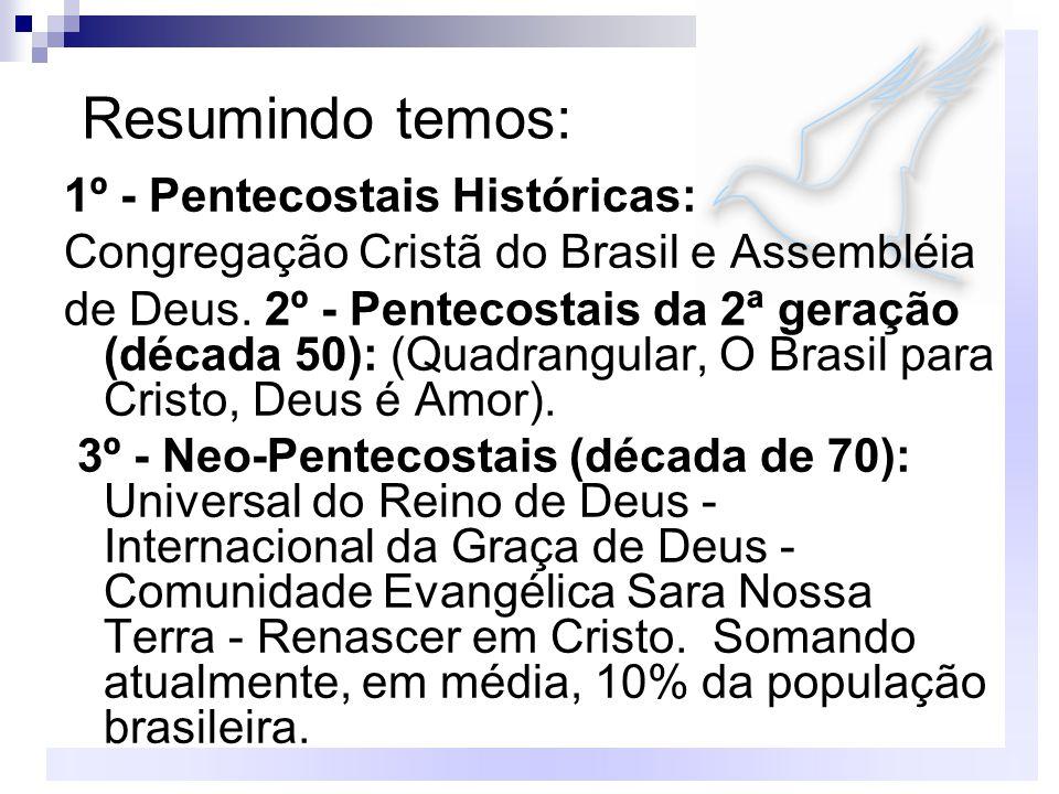 Resumindo temos: 1º - Pentecostais Históricas: