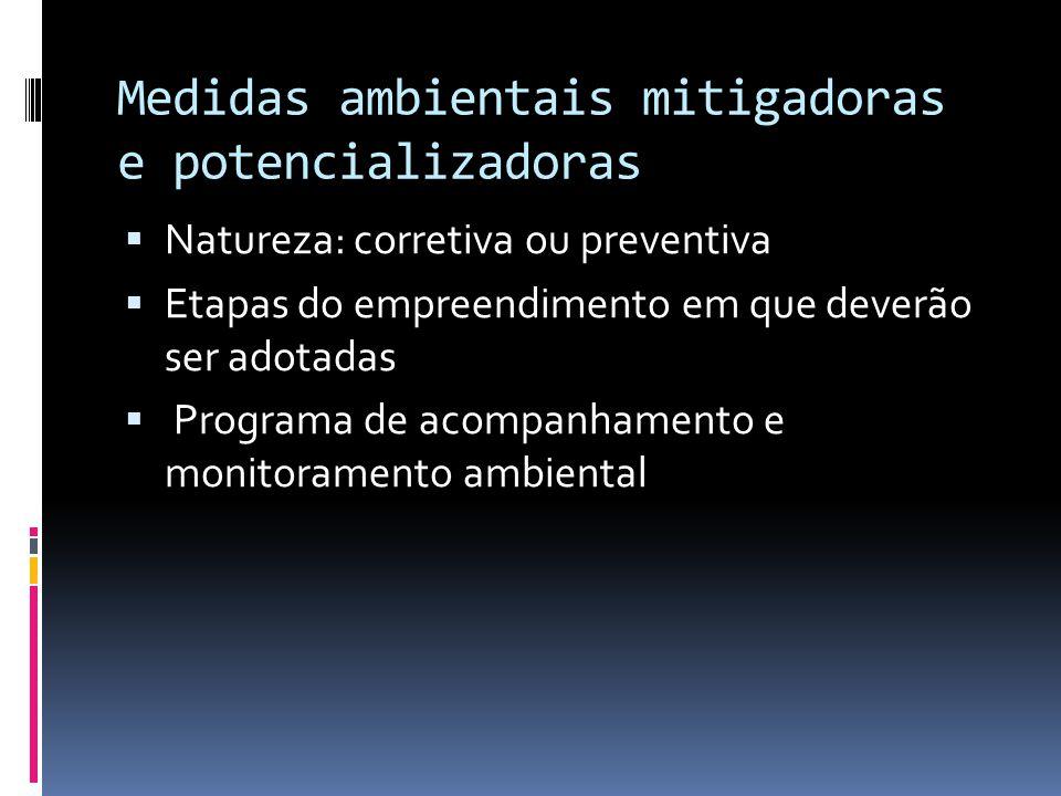 Medidas ambientais mitigadoras e potencializadoras