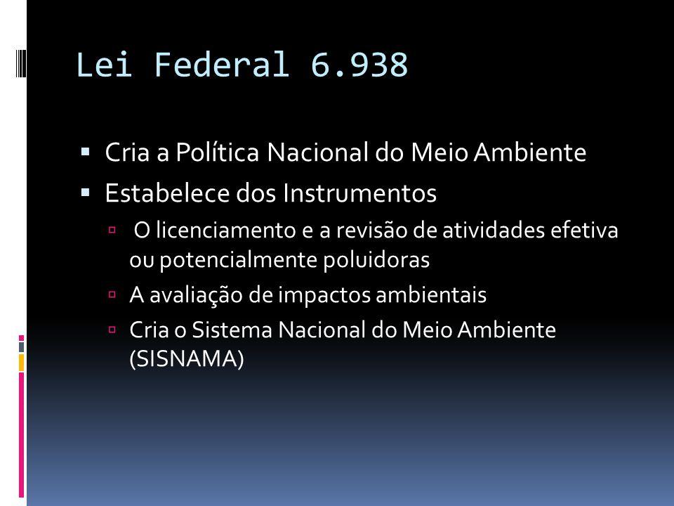 Lei Federal 6.938 Cria a Política Nacional do Meio Ambiente