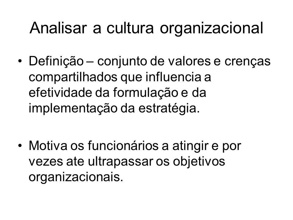 Analisar a cultura organizacional