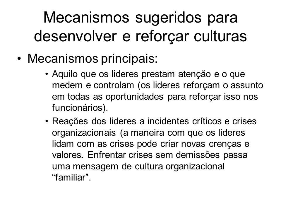 Mecanismos sugeridos para desenvolver e reforçar culturas