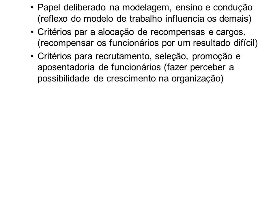 Papel deliberado na modelagem, ensino e condução (reflexo do modelo de trabalho influencia os demais)