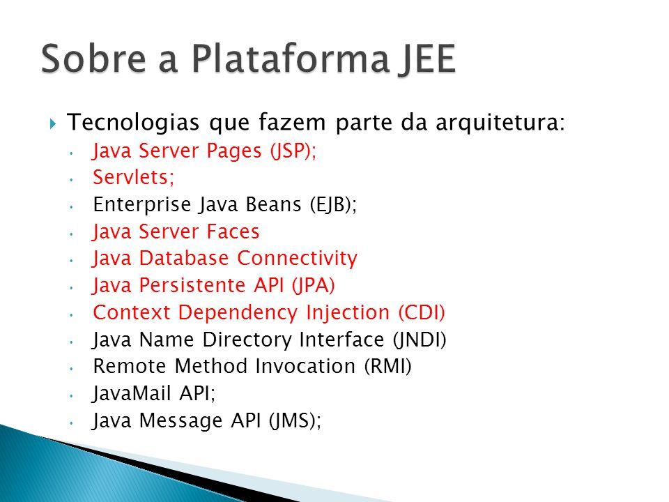 Sobre a Plataforma JEE Tecnologias que fazem parte da arquitetura: