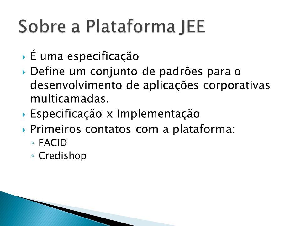 Sobre a Plataforma JEE É uma especificação