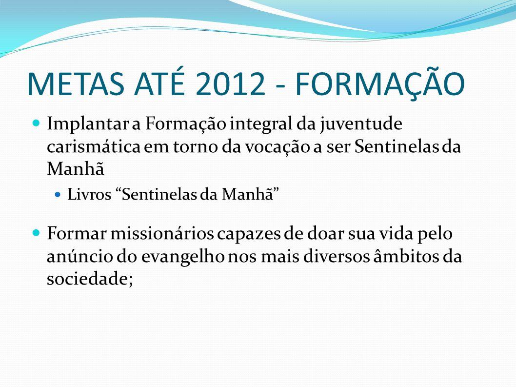 METAS ATÉ 2012 - FORMAÇÃO Implantar a Formação integral da juventude carismática em torno da vocação a ser Sentinelas da Manhã.