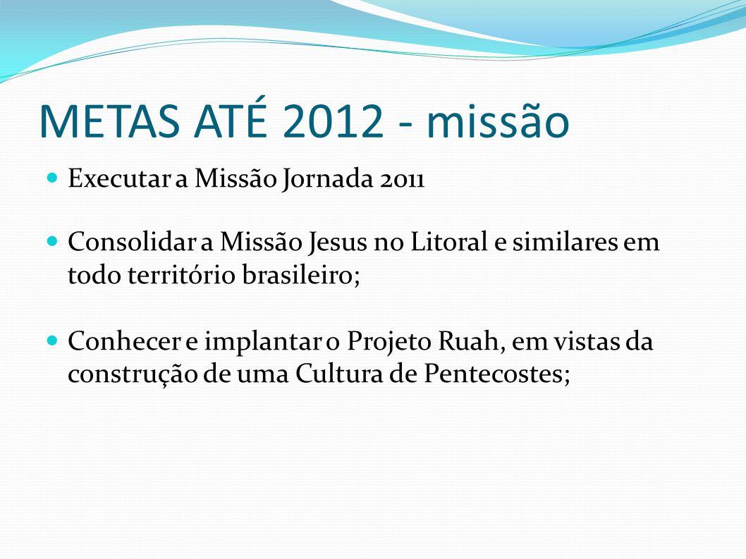 METAS ATÉ 2012 - missão Executar a Missão Jornada 2011