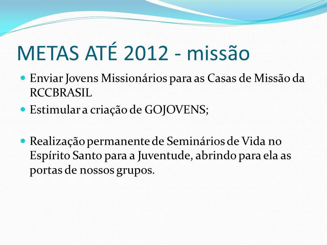 METAS ATÉ 2012 - missão Enviar Jovens Missionários para as Casas de Missão da RCCBRASIL. Estimular a criação de GOJOVENS;