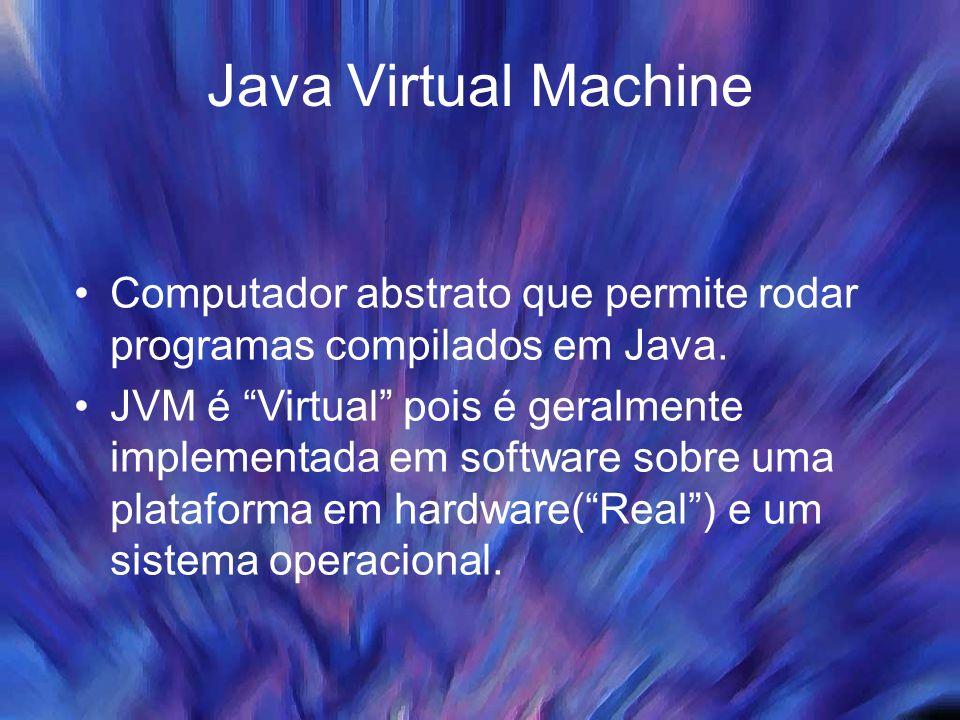 Java Virtual Machine Computador abstrato que permite rodar programas compilados em Java.