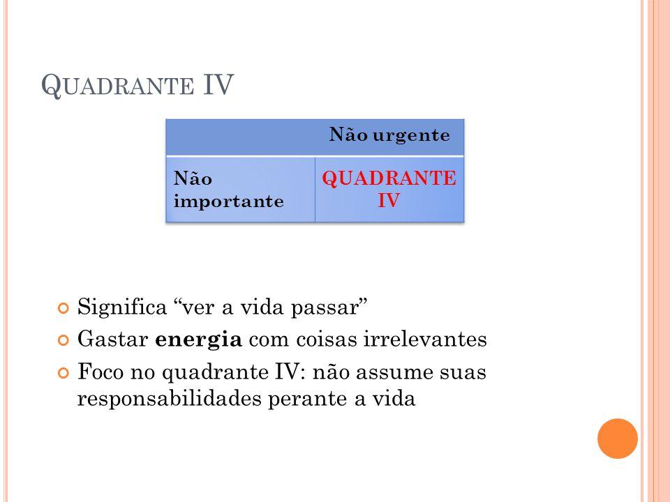 Quadrante IV Significa ver a vida passar