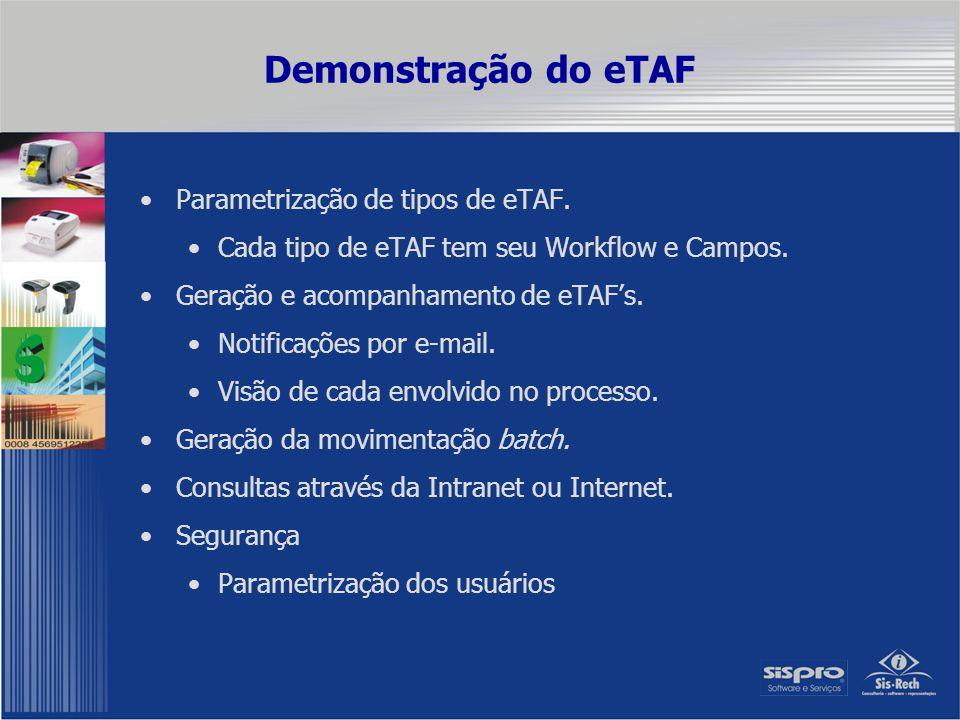 Demonstração do eTAF Parametrização de tipos de eTAF.