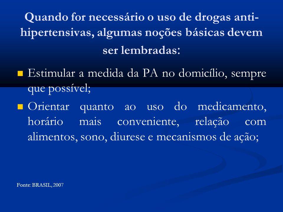 Estimular a medida da PA no domicílio, sempre que possível;