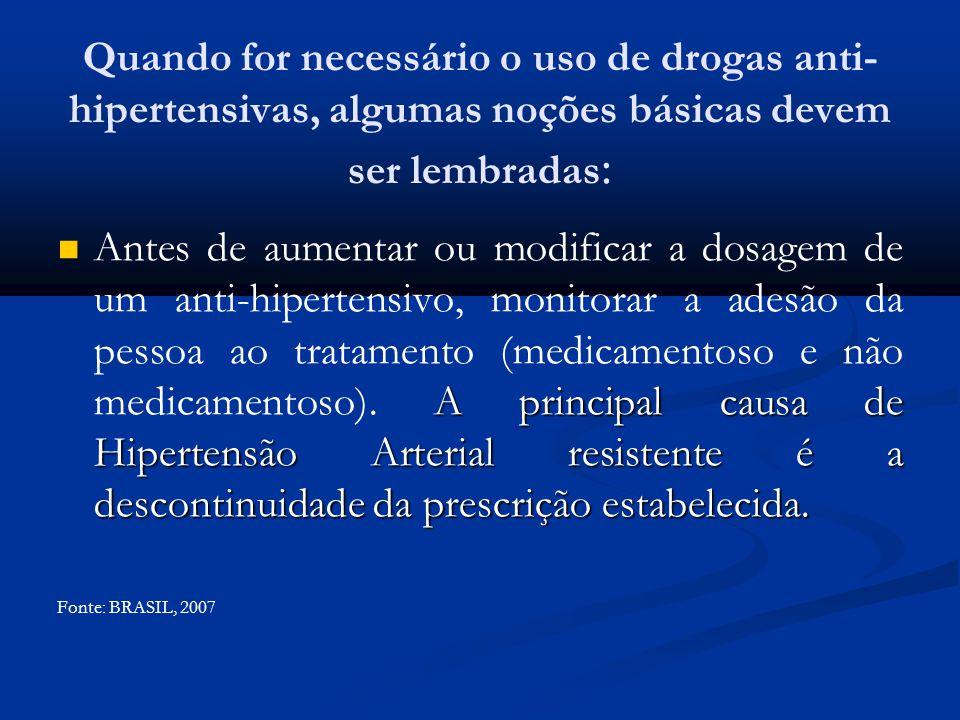 Quando for necessário o uso de drogas anti-hipertensivas, algumas noções básicas devem ser lembradas: