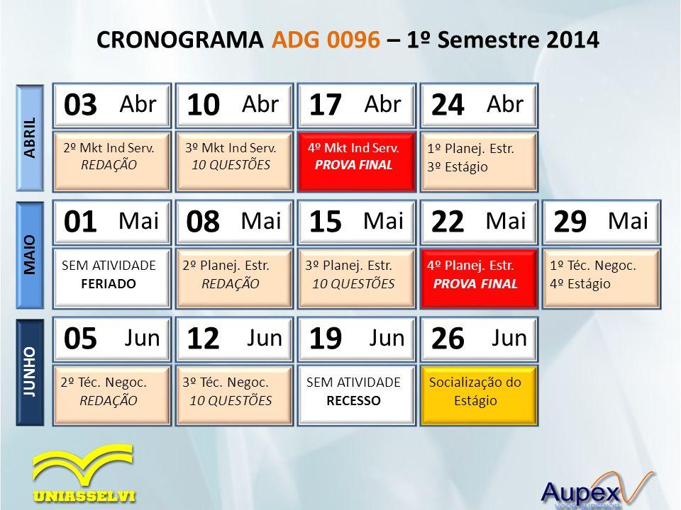 CRONOGRAMA ADG 0096 – 1º Semestre 2014