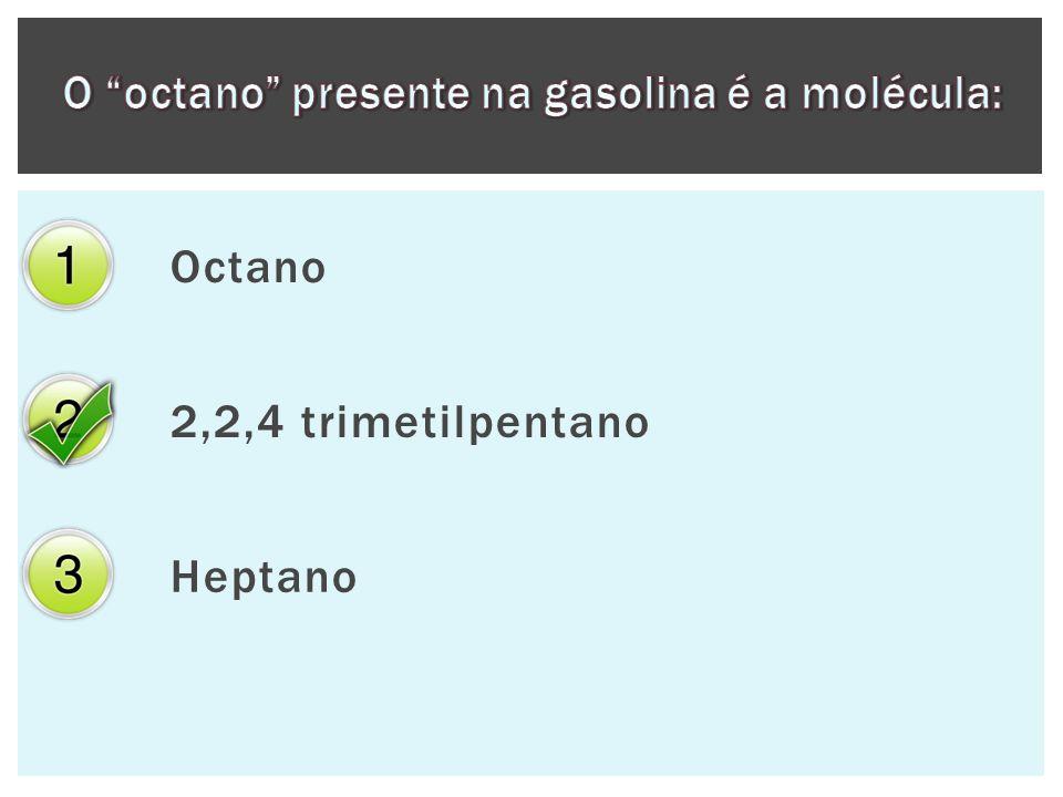 O octano presente na gasolina é a molécula: