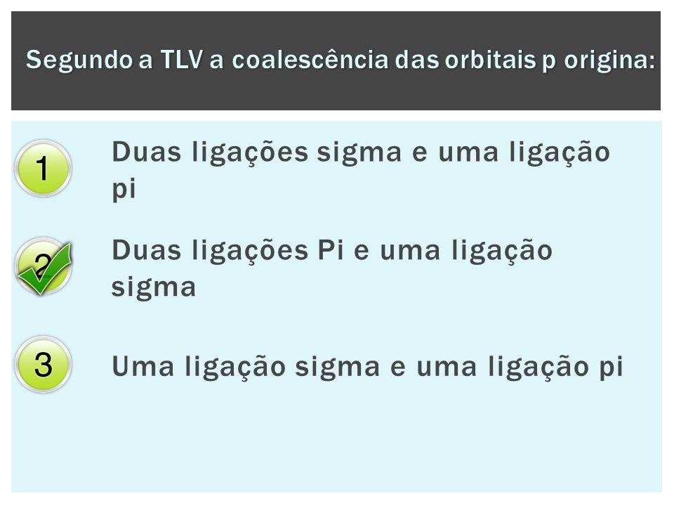 Segundo a TLV a coalescência das orbitais p origina: