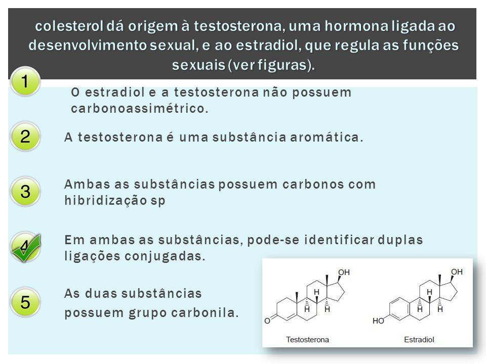colesterol dá origem à testosterona, uma hormona ligada ao desenvolvimento sexual, e ao estradiol, que regula as funções sexuais (ver figuras).