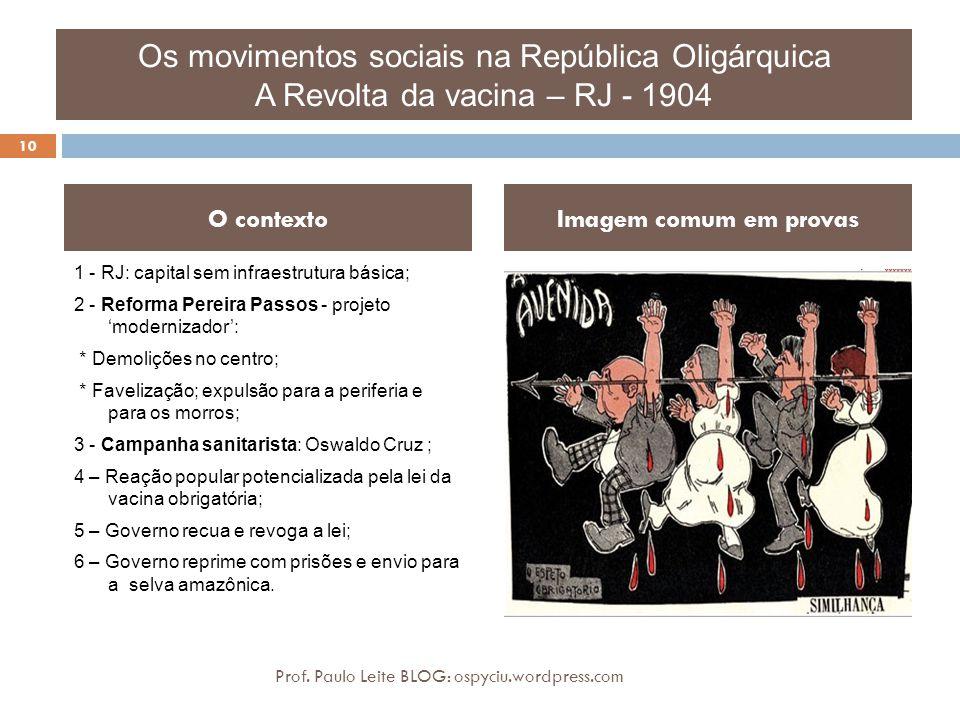 Os movimentos sociais na República Oligárquica A Revolta da vacina – RJ - 1904