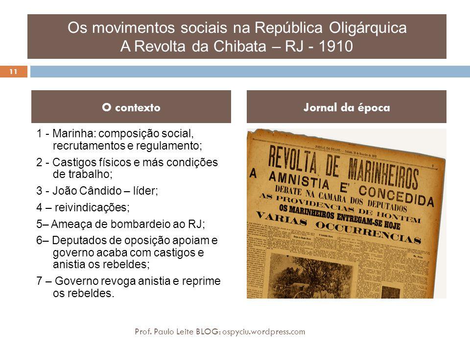 Os movimentos sociais na República Oligárquica A Revolta da Chibata – RJ - 1910