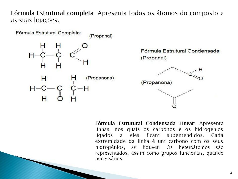 Fórmula Estrutural completa: Apresenta todos os átomos do composto e as suas ligações.