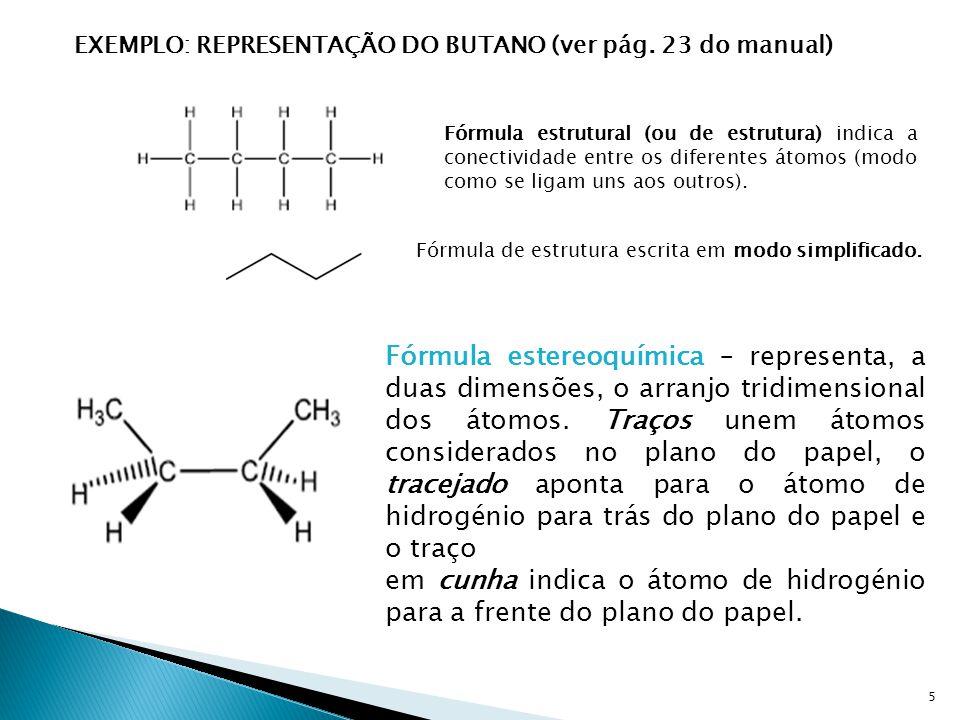 em cunha indica o átomo de hidrogénio para a frente do plano do papel.
