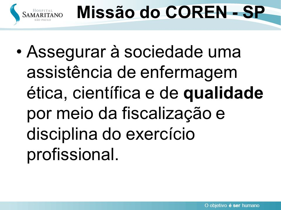 Missão do COREN - SP