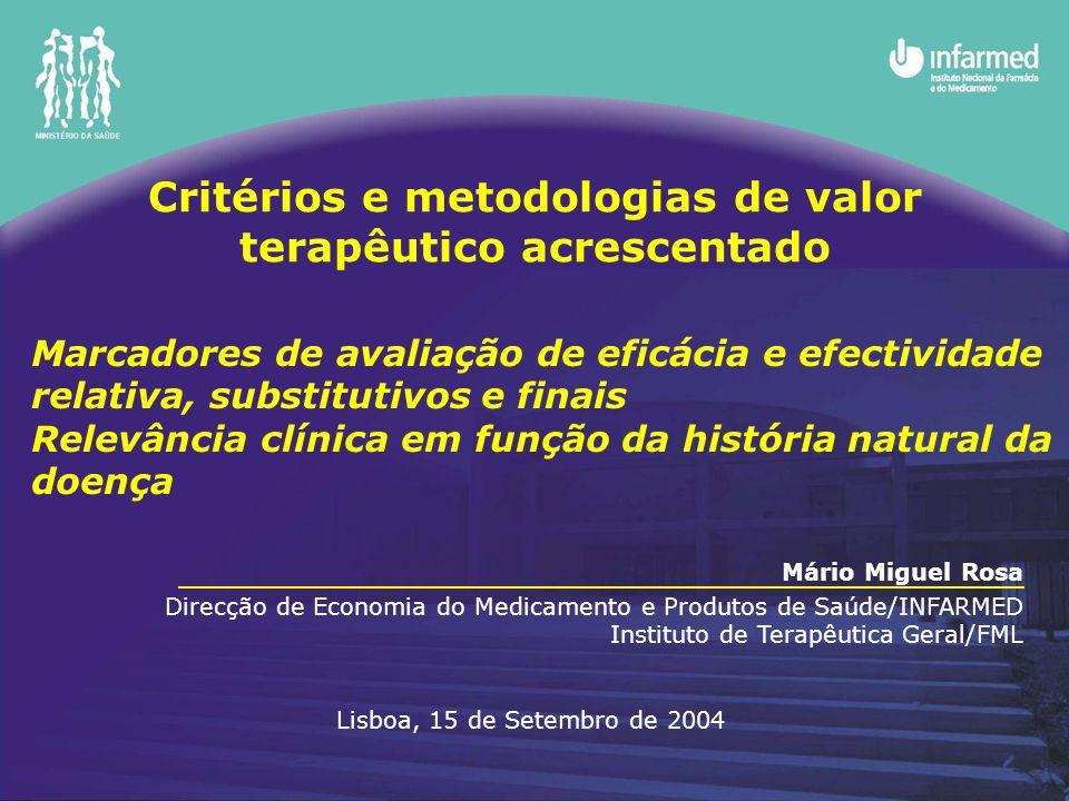 Critérios e metodologias de valor terapêutico acrescentado