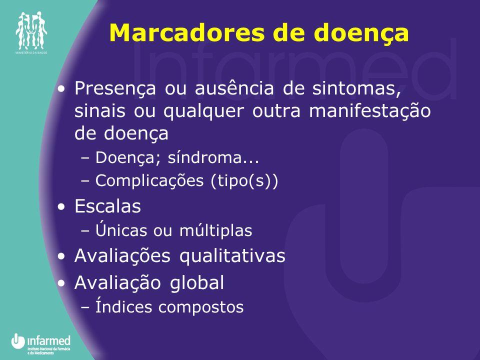 Marcadores de doença Presença ou ausência de sintomas, sinais ou qualquer outra manifestação de doença.