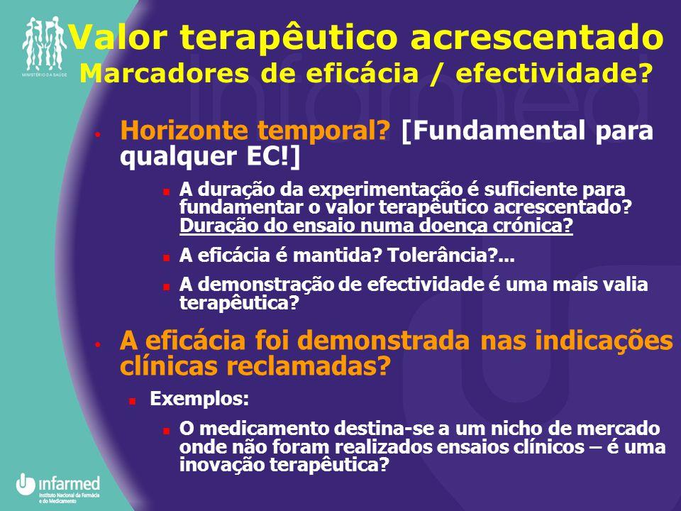 Valor terapêutico acrescentado Marcadores de eficácia / efectividade