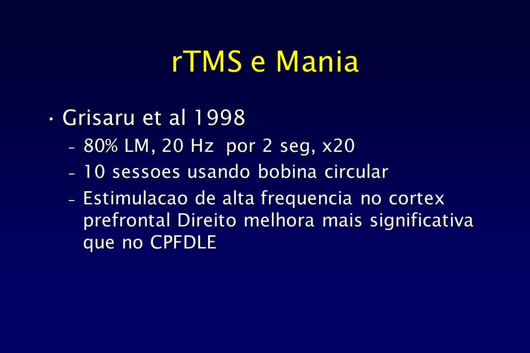 rTMS e Mania Grisaru et al 1998 80% LM, 20 Hz por 2 seg, x20