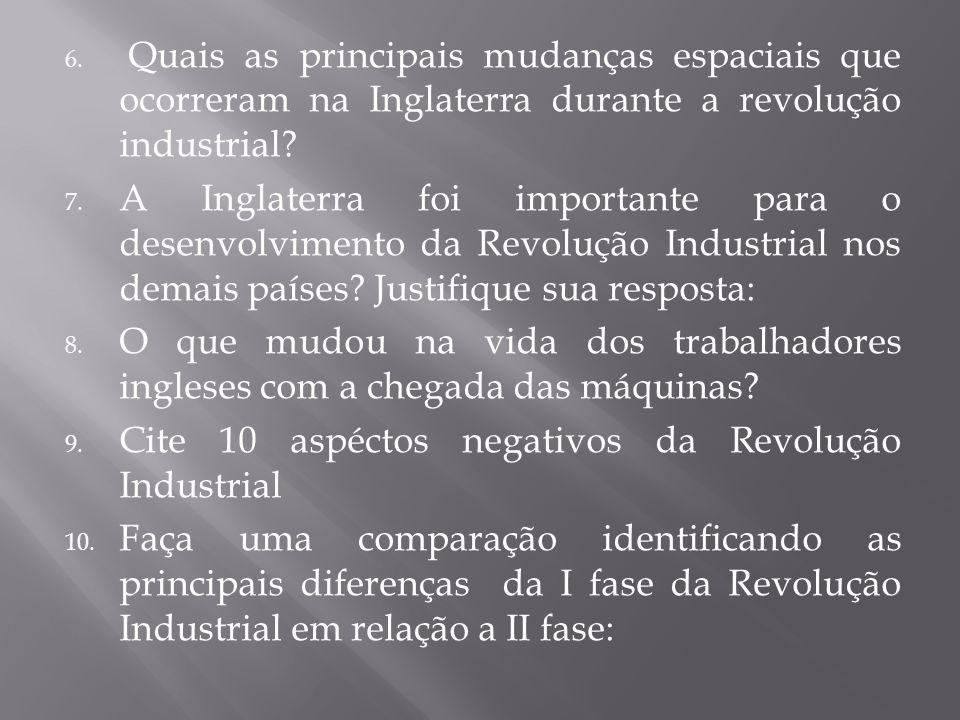 Quais as principais mudanças espaciais que ocorreram na Inglaterra durante a revolução industrial