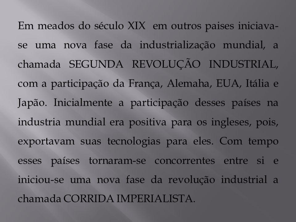 Em meados do século XIX em outros paises iniciava-se uma nova fase da industrialização mundial, a chamada SEGUNDA REVOLUÇÃO INDUSTRIAL, com a participação da França, Alemaha, EUA, Itália e Japão.