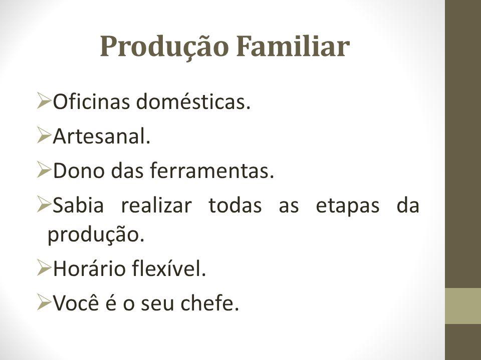 Produção Familiar Oficinas domésticas. Artesanal.