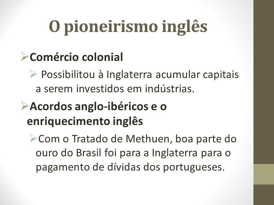 O pioneirismo inglês Comércio colonial