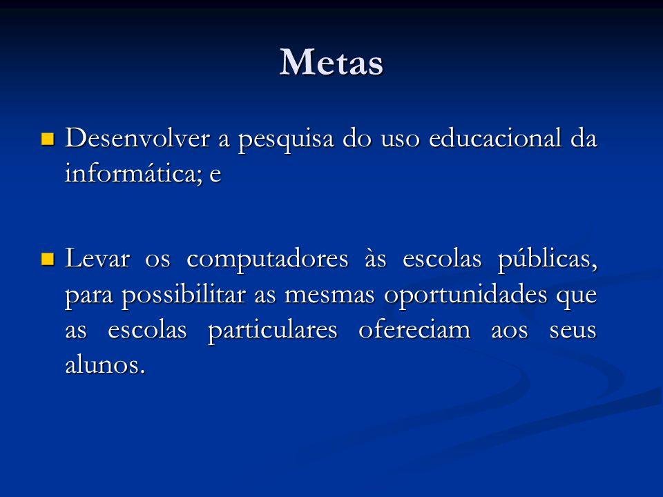 Metas Desenvolver a pesquisa do uso educacional da informática; e