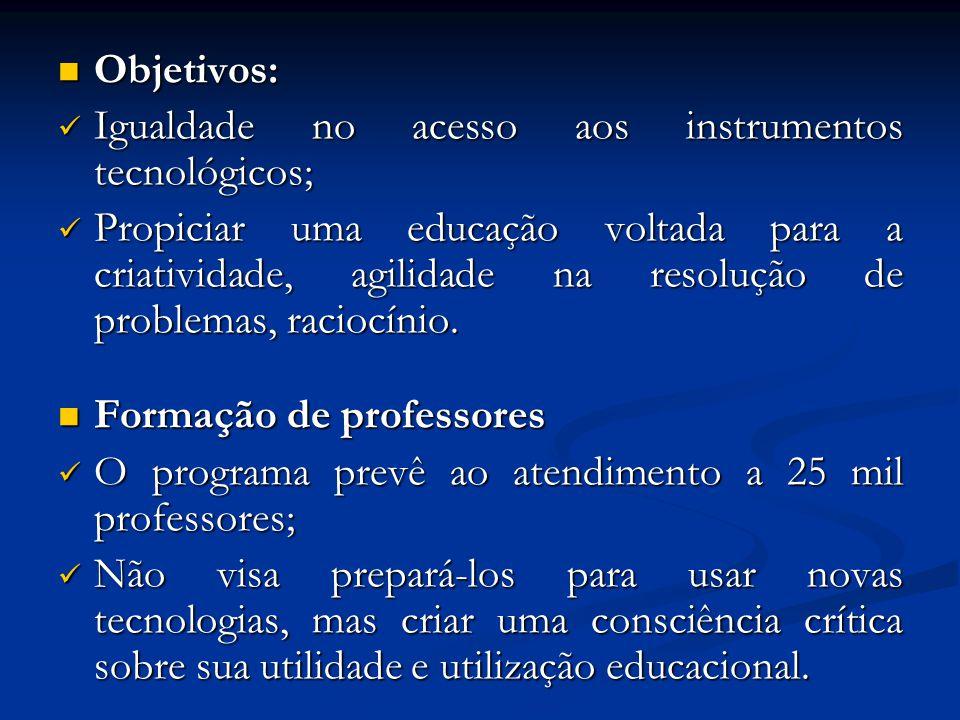 Objetivos: Igualdade no acesso aos instrumentos tecnológicos;