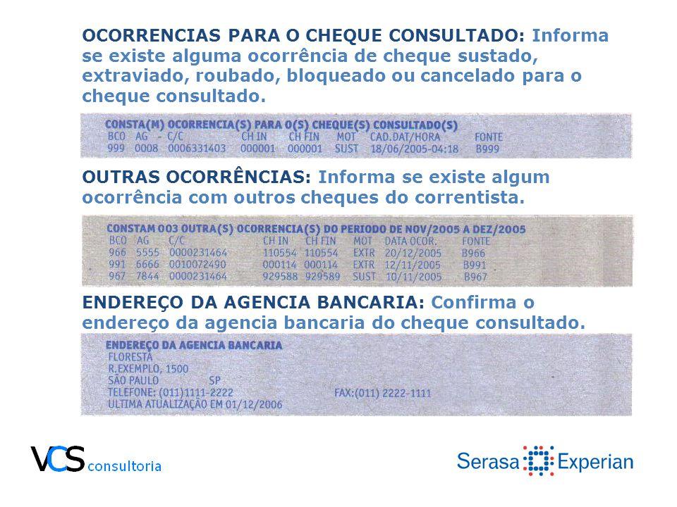OCORRENCIAS PARA O CHEQUE CONSULTADO: Informa se existe alguma ocorrência de cheque sustado, extraviado, roubado, bloqueado ou cancelado para o cheque consultado.