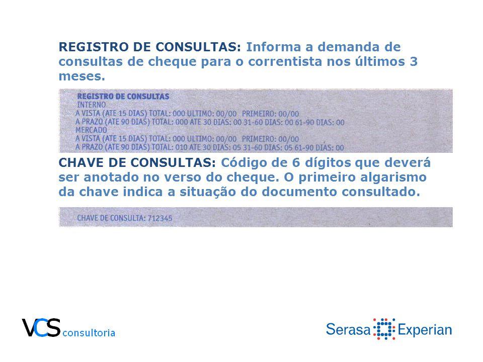 REGISTRO DE CONSULTAS: Informa a demanda de consultas de cheque para o correntista nos últimos 3 meses.